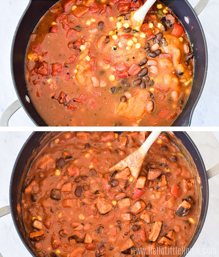 Photo collage showing the chili in a large pot before and after simmering.