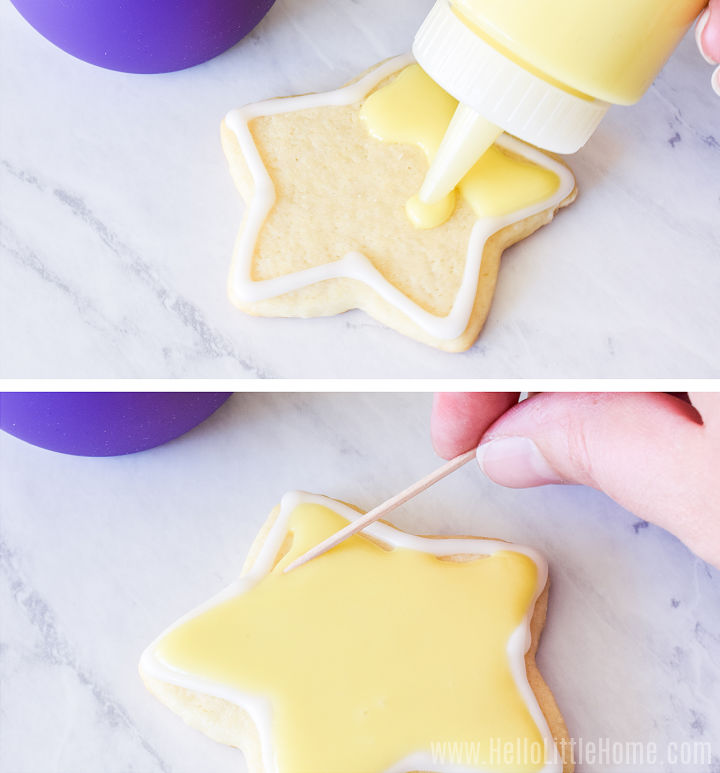 A photo collage showing a cookie being iced.