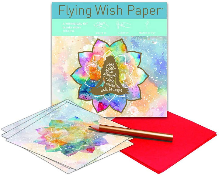 Pieces of flying wish paper and a pencil.