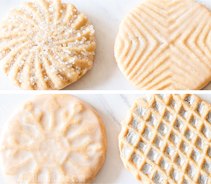 A photo collage showing cookies decorated with icing, sprinkles, and luster dust.