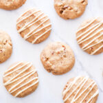 Maple Pecan Shortbread Cookies on a counter.