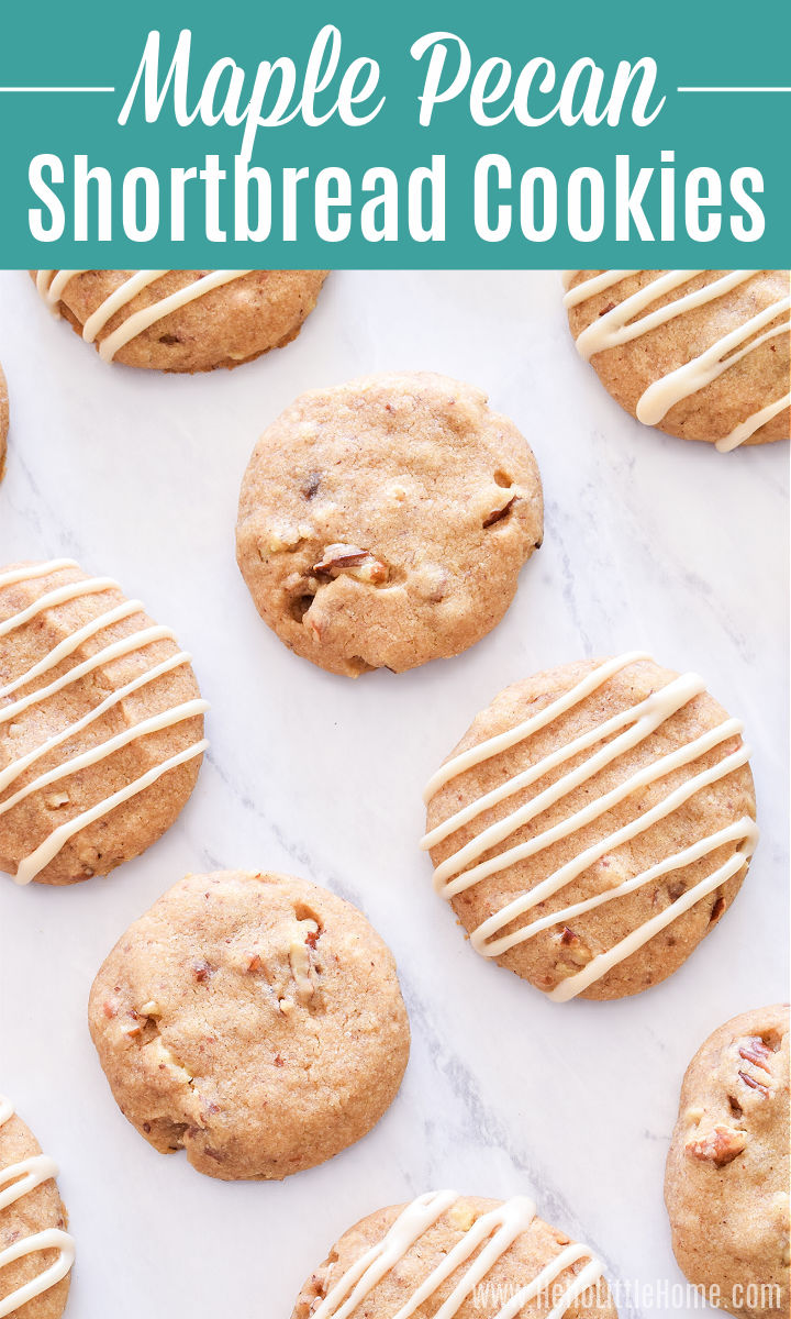 A marble counter topped with Maple Pecan Shortbread Cookies.