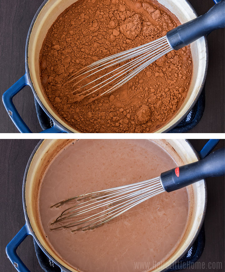 A photo collage showing a whisk mixing together the recipe ingredients in a saucepan.