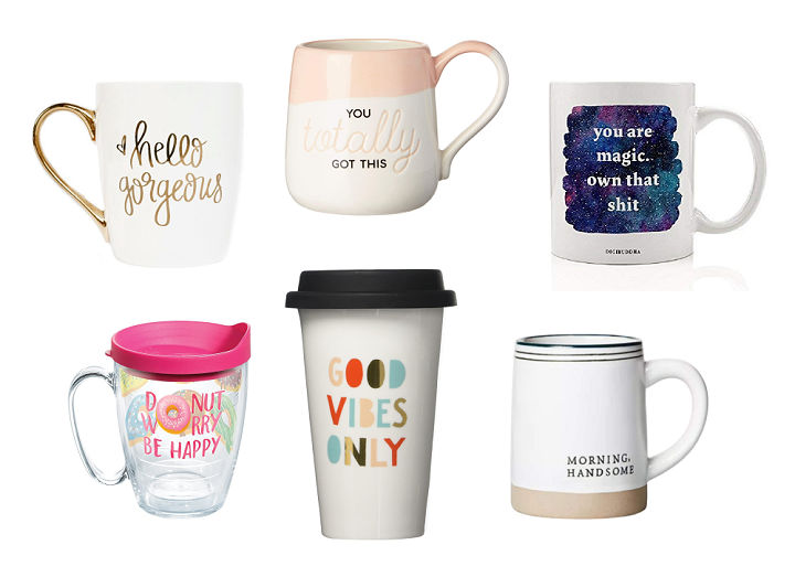 Six different mugs arranged on a white background.