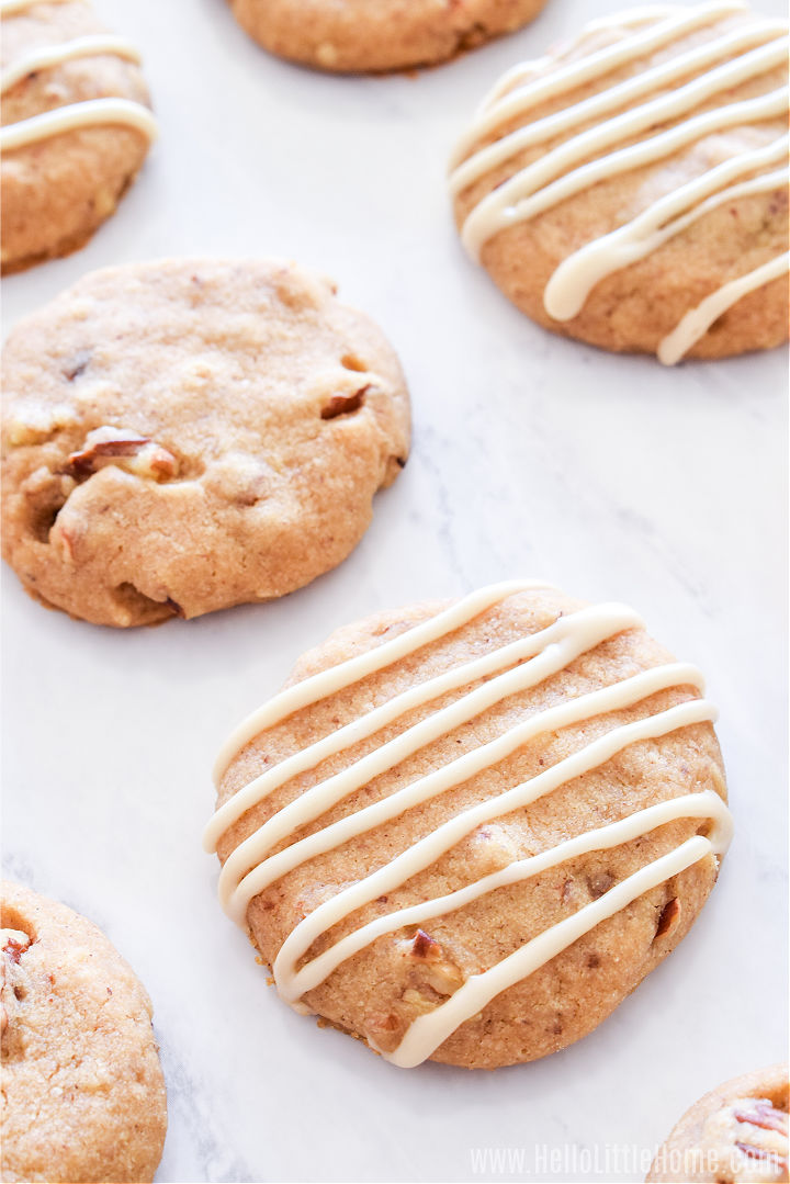 Closeup of the finished cookies on a marble counter.