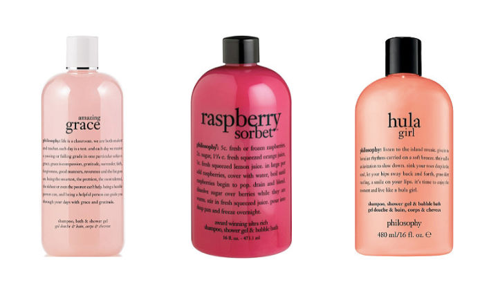Three bottles of body wash displayed on a white background.