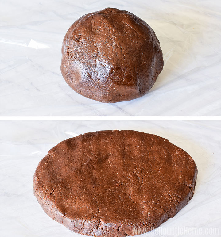 A photo collage showing the gingerbread dough shaped into a ball, then flattened into a disk.