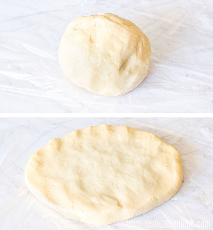 A photo collage showing a ball of cookie dough, and below it, a flattened disk of dough.