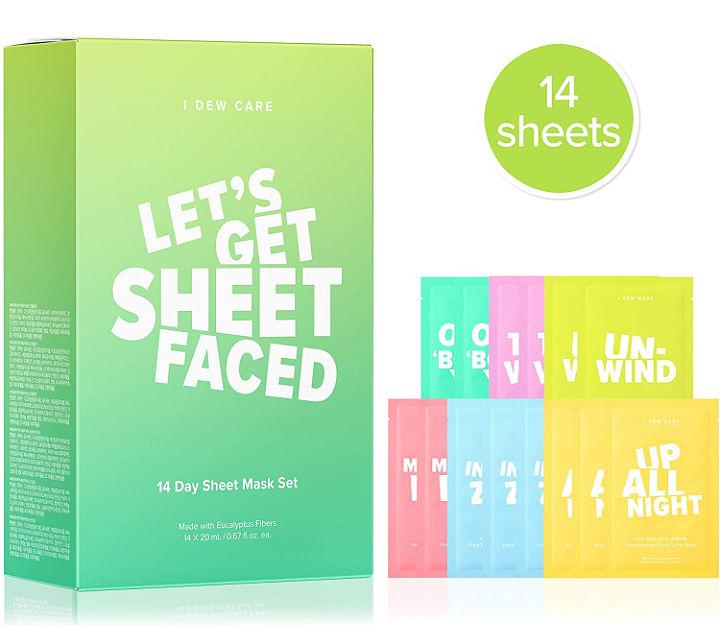 A box with individual sheet masks next to it.