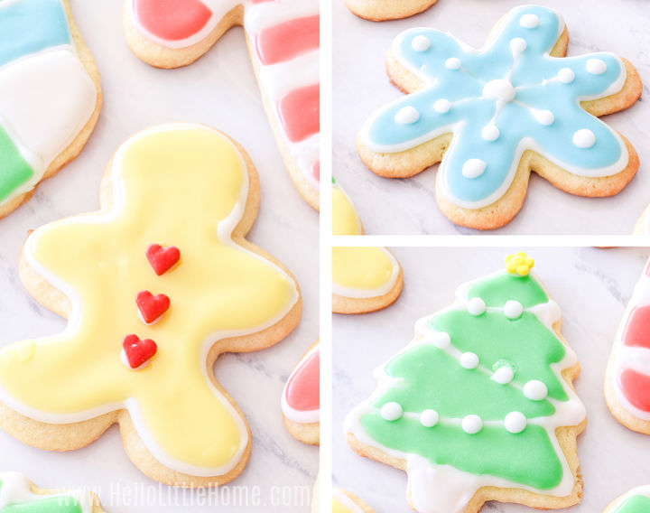 A photo collage showing decorated gingerbread man, star, and tree cookies.
