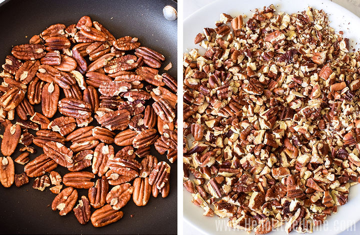 A photo collage showing toasted nuts in a skillet, and then chopped.
