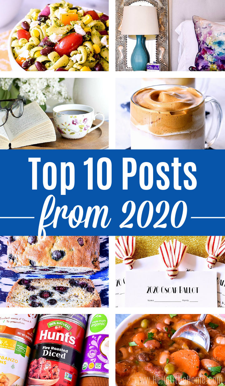A photo collage of eight of the top 10 posts from 2020 from Hello Little Home blog.