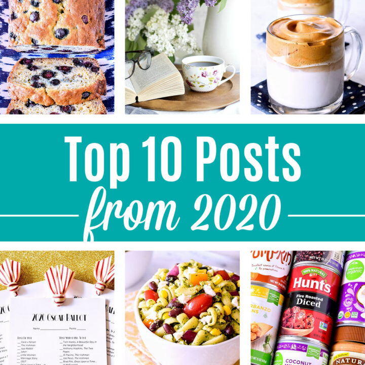 A photo collage of six recipes and ideas with a text overlay.