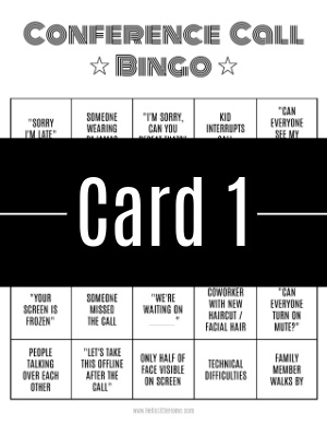 A thumbnail-sized image of bingo card #1 with a text banner across it.