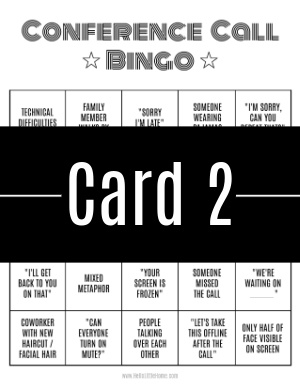 A thumbnail-sized image of bingo card #2 with a text banner across it.