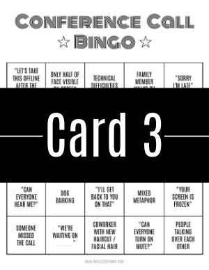 A thumbnail-sized image of bingo card #3 with a text banner across it.