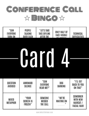 A thumbnail-sized image of bingo card #4 with a text banner across it.