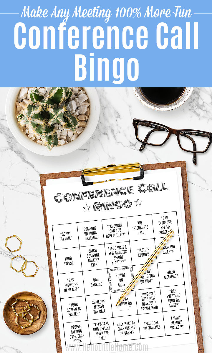 A marble counter topped with the conference call bingo card on a clipboard, small plant, coffee cup, glasses, and paper clips.