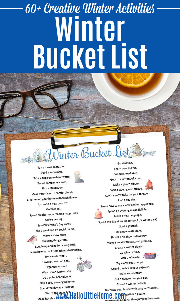 A clipboard topped with the bucket list.