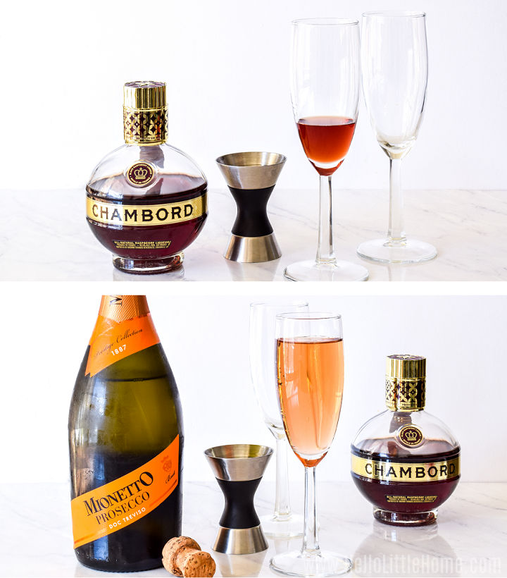 A photo collage showing the recipe ingredients being added to a champagne glass.