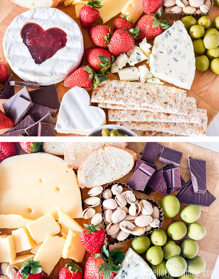 A photo collage showing nuts, olives, and fruit being added to the board.