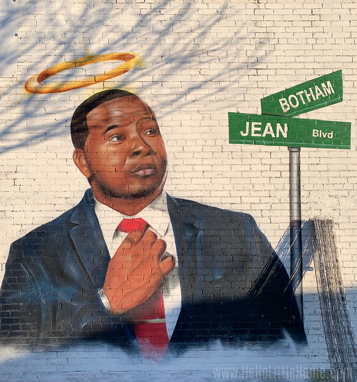 A mural with an image of Botham Jean in Dallas.