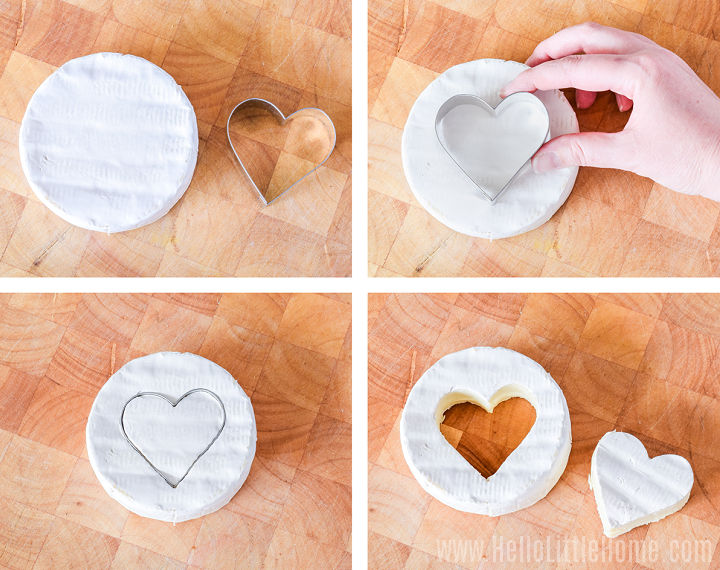 Photo collage showing a heart being cut out of a brie round with a cookie cutter.