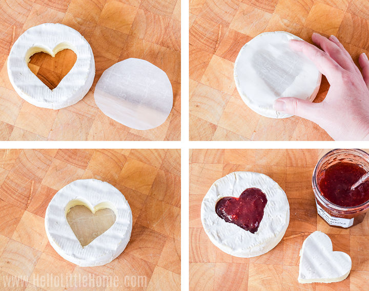 Photo collage showing brie being filled with jam.
