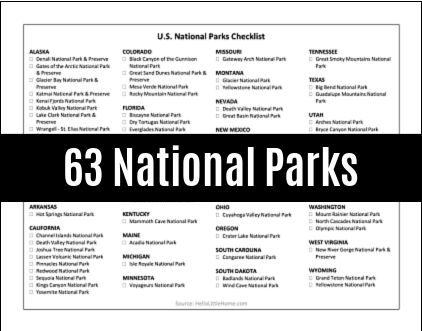 An image of the free printable 63 U.S. National Parks Checklist PDF.