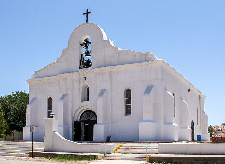 The white exterior of a chapel on El Camino Real de Tierra Adentro National Historic Trail.