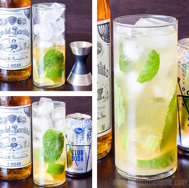 A photo collage showing a tall glass being filled with club soda, then rum, and finally the finished drink.