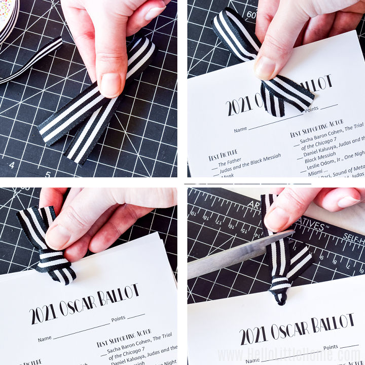 A photo collage showing a hand adding the ribbon to the printable in four steps.
