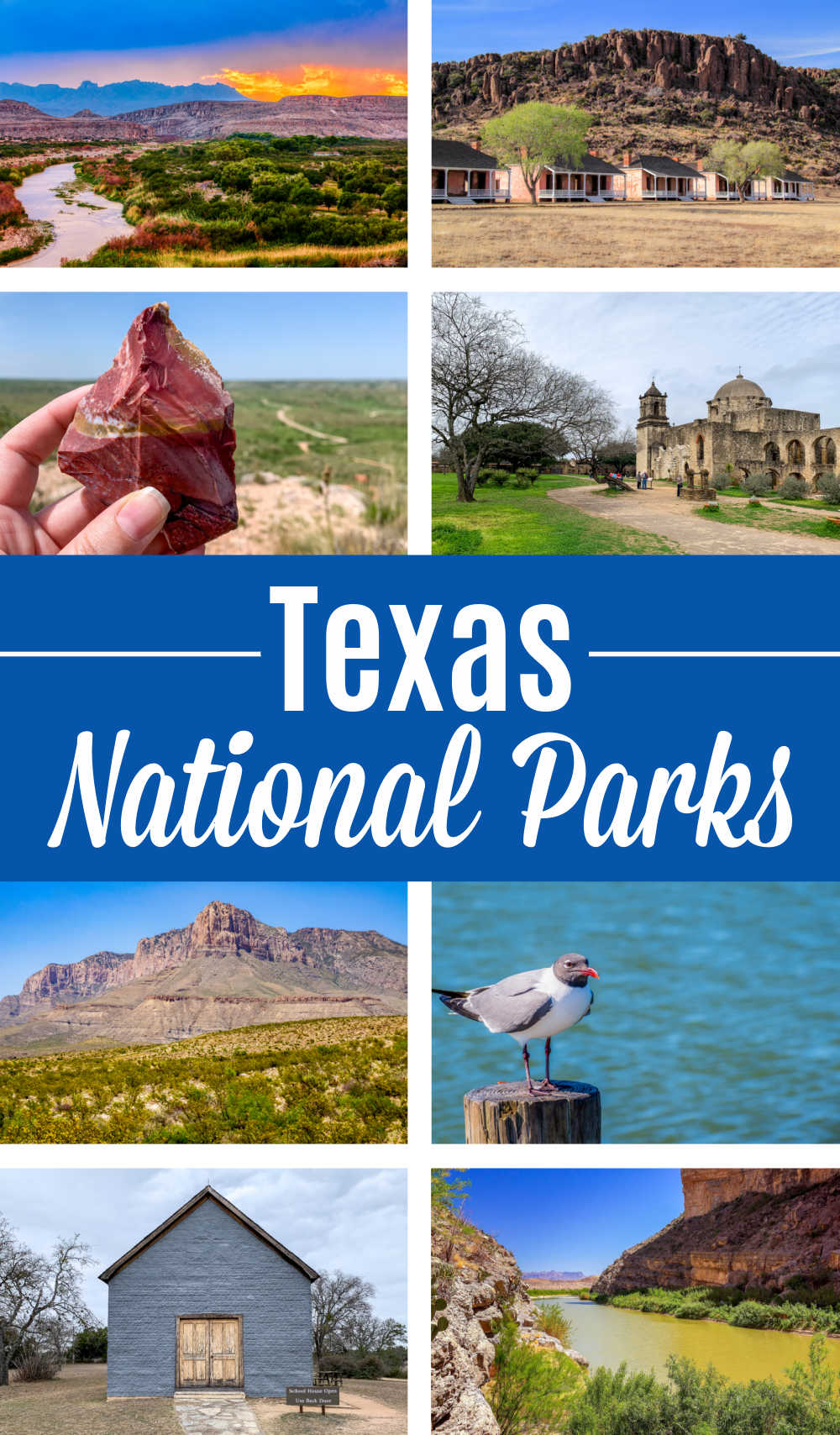 A photo collage showing different Texas National Parks.