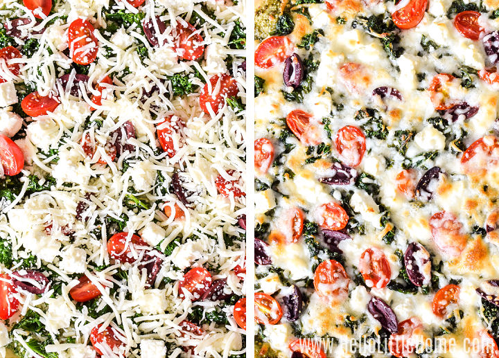 A photo collage showing the pizza before and after baking.