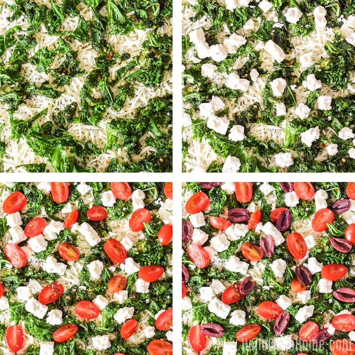 A photo collage showing kale, feta, tomatoes, and olives being added to the crust.