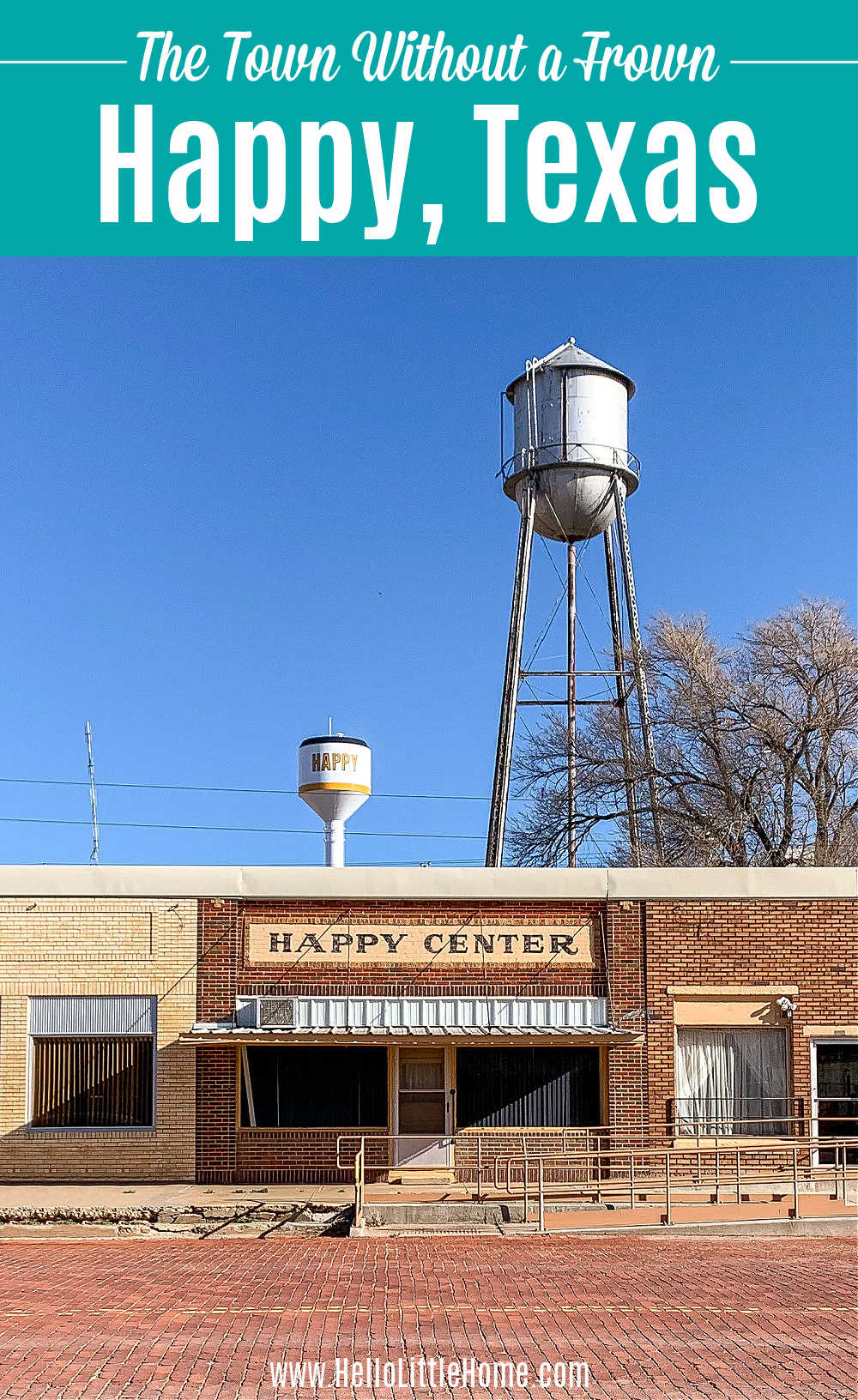 The Happy Center and two water towers located in Happy, Texas.