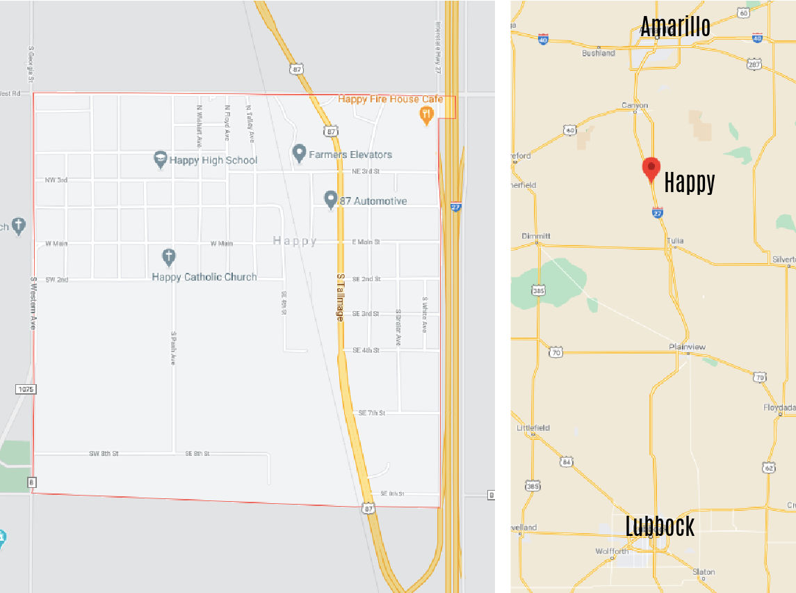 A collage showing a map of the city next to another map showing its location between Amarillo and Lubbock.