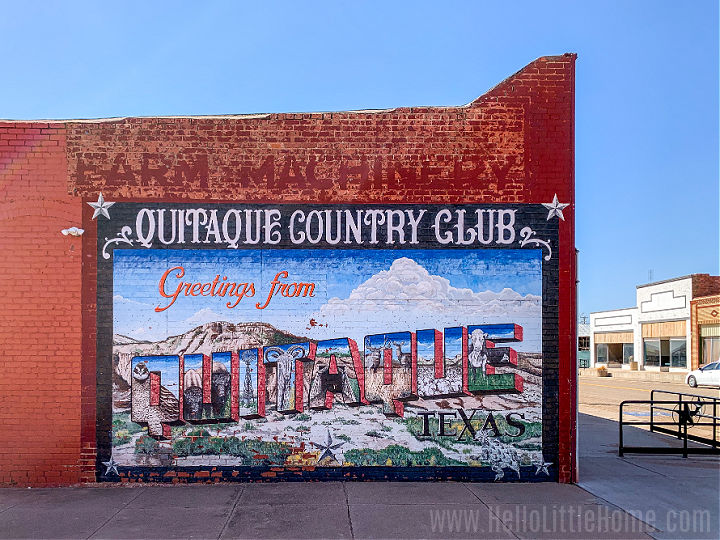 A colorful mural on a brick building in Quitaque, Texas.