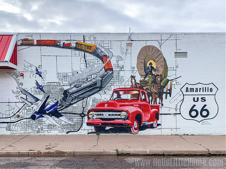 A mural on Route 66 in Amarillo, Texas.