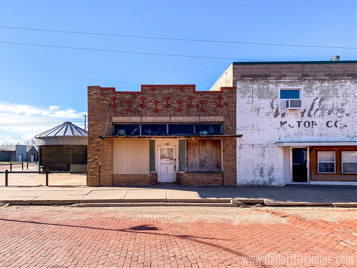 Empty storefronts along Main Street in Happy, TX.