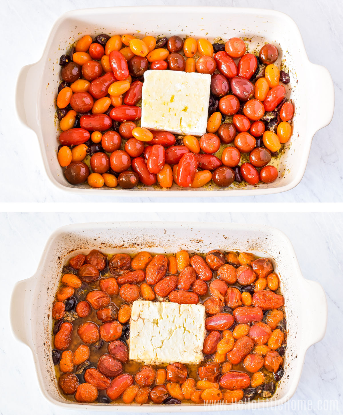 A photo collage showing the feta and tomatoes in a baking dish before and after baking.