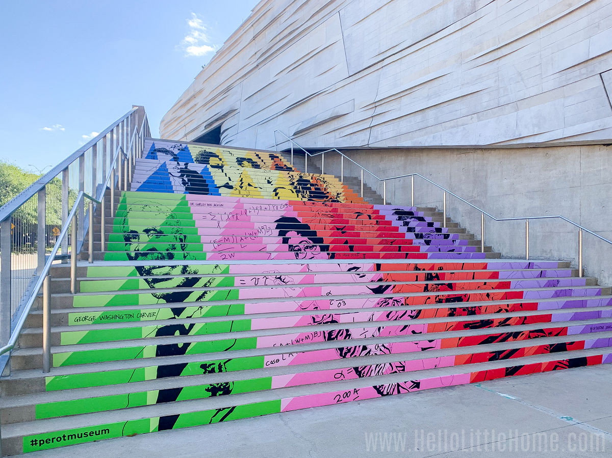 A colorful staircase outside the Perot Museum.