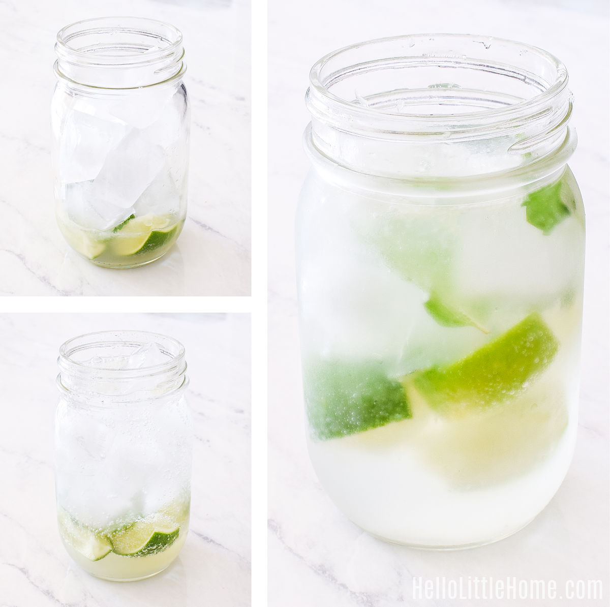 A photo collage showing a glass filled with ice, and then with club soda added (before and after mixing).