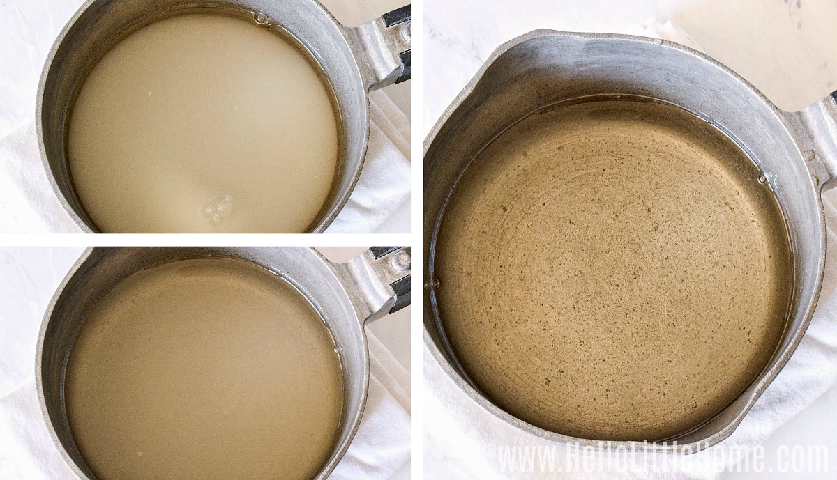 A photo collage showing three images of the sugar and water mixture in a saucepan as is cooks.