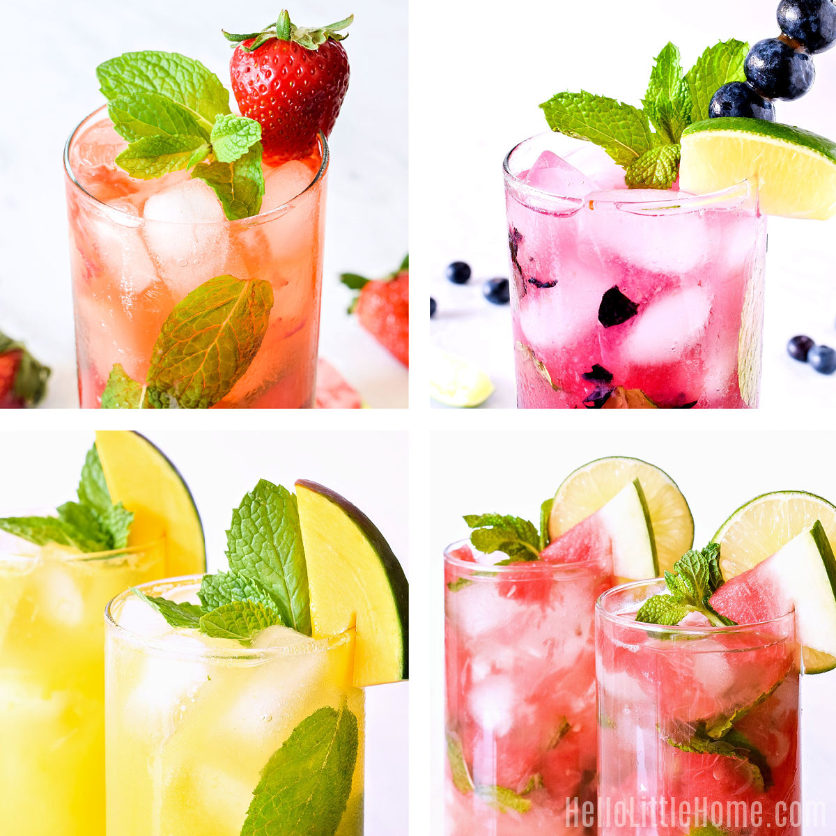 A photo collage showing variations on the mocktail made with strawberries, blueberries, mango, and watermelon.