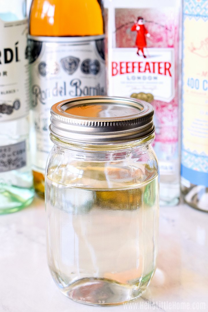 Closeup of a mason jar filled with sugar syrup.