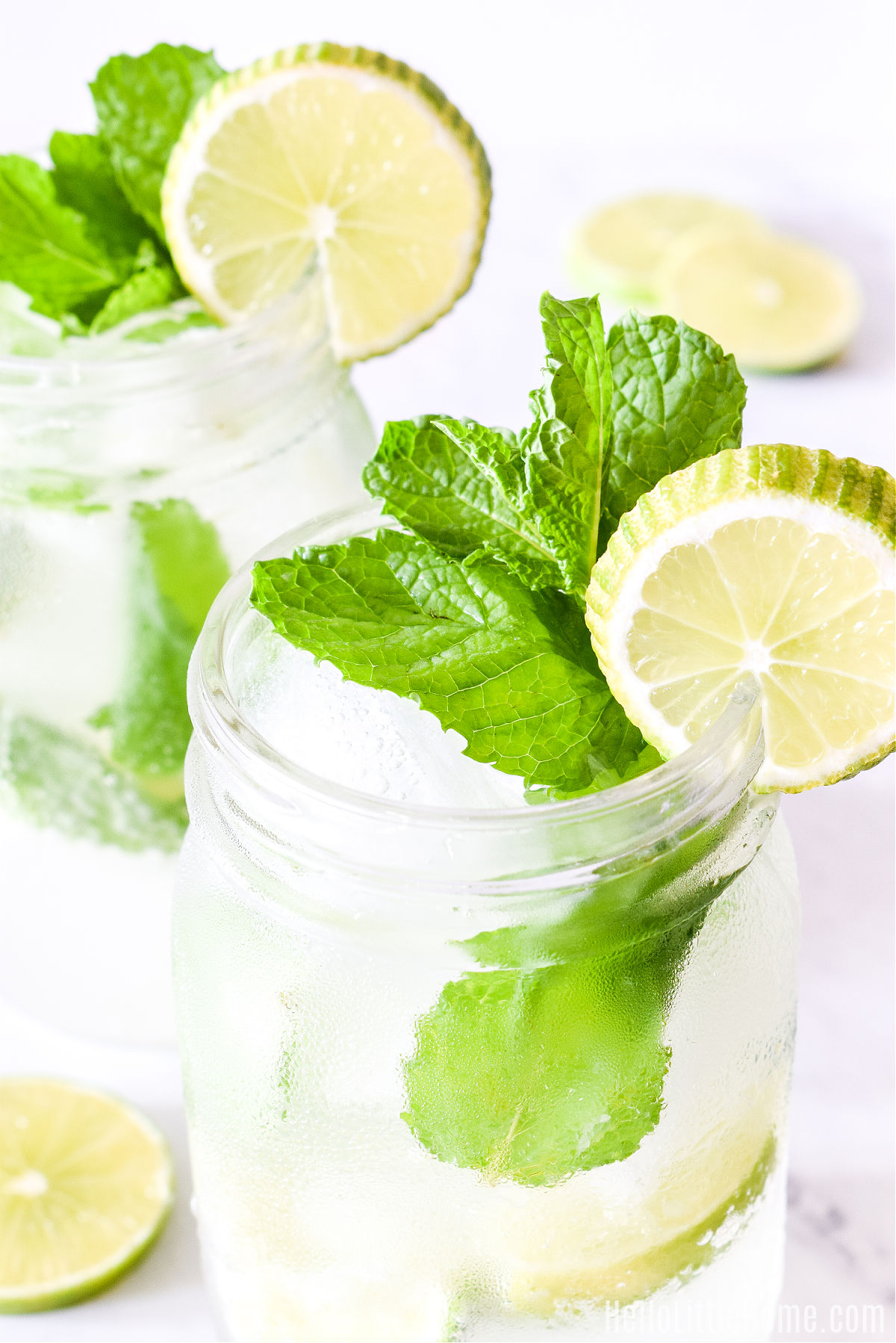 This finished drink recipe served in a mason jar with a mint and lime garnish.