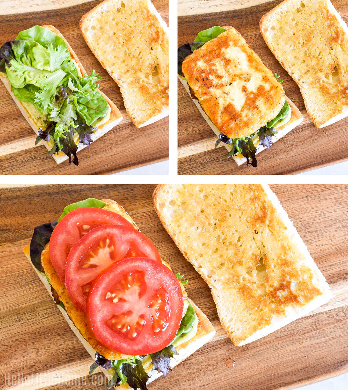 A photo collage showing how the sandwich is assembled.