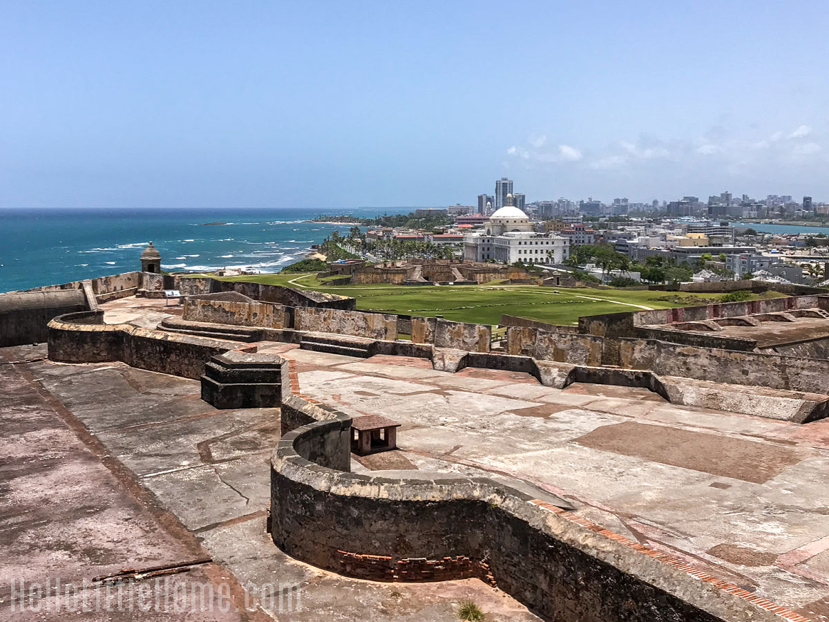 A view of the San Juan Capitol building from the top of Castillo San Cristobal.