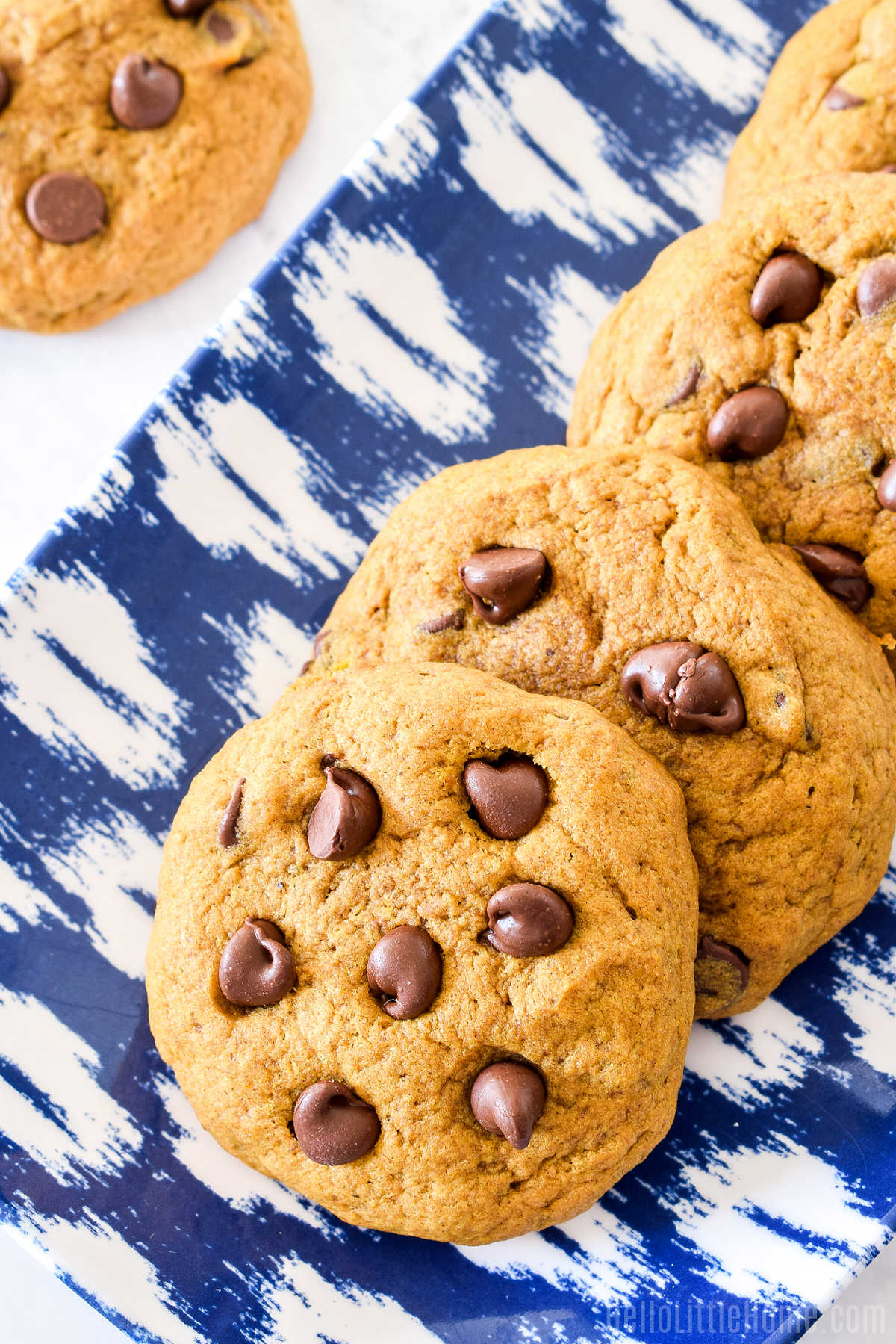 A tray of the Chocolate Chip Pumpkin Cookies.